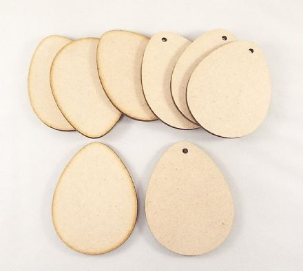 Wooden mdf easter egg craft shapes tags  decor 10 PACK 3mm Thick